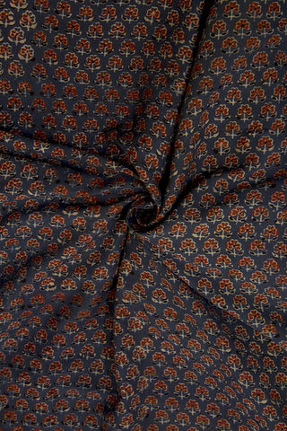 Maroon Small Flowers Malai Cotton Fabric-1 m