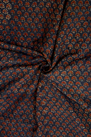 Maroon Small Flowers Malai Cotton Fabric