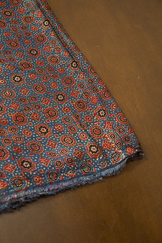 Indigo Blue and Maroon Circles and Stars Ajrak Modal Silk Fabric