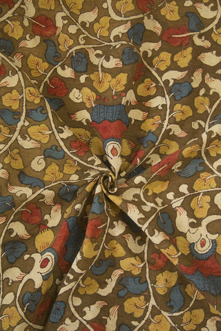 Olive Green Floral Circle Painted Kalamkari Cotton Fabric
