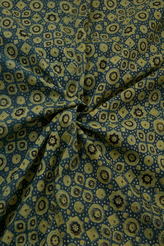 Indigo with Black Circles and Stars Malai Cotton Fabric-1.2 m