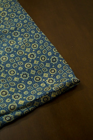 Indigo with Black Circles and Stars Malai Cotton Fabric