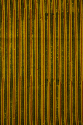 Yellow Lines Malai Cotton Fabric