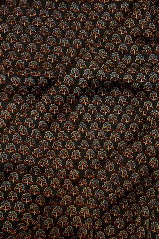 Black with Indigo Small Flowers Ajrak Modal Silk Fabric