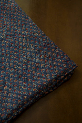 Maroon Small Flowers Ajrak Modal Silk Fabric