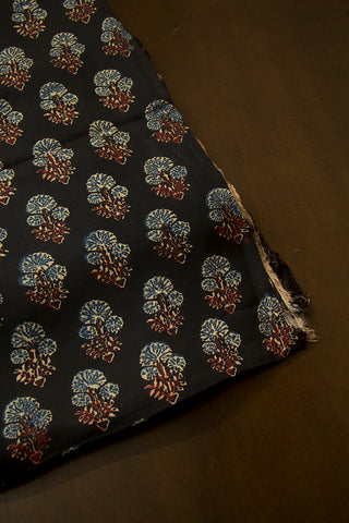Black with Indigo Daisy Flower Ajrak Modal Silk Fabric