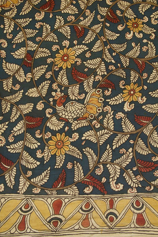 Indigo Blue with Fenugreek Flower Painted Kalamkari Cotton Fabric