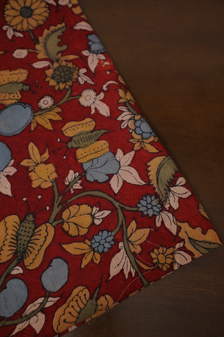 Maroon with Yellow Hand Painted Cotton Kalamkari Fabric-2 m