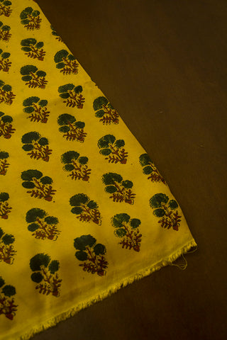 Yellow with Dark Green Ajrak Modal Silk Fabric