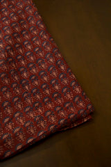 Maroon with Indigo Malai Cotton Fabric