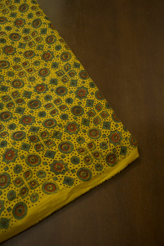 Dark Green and Maroon Circles and Stars  Ajrak Modal Silk Fabric