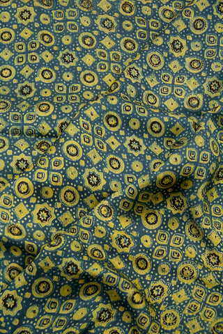 Yellowish Green Circles and Stars Ajrak Modal Silk Fabric