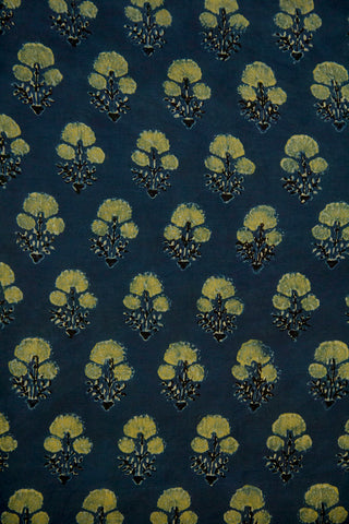 Indigo with Yellowish Green Daisy Flower Ajrak Cotton Fabric-1.4m
