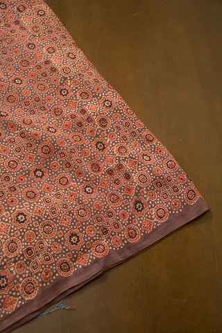 Grey with Maroon Circles and Stars Malai Cotton Fabric
