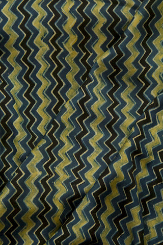 Black with Indigo Zig Zag Ajrak Modal Silk Fabric
