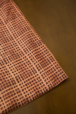 Beige with Small Checks Malai Cotton Fabric