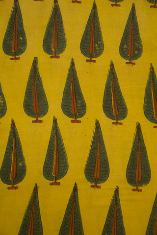 Yellow with Green Leaf Malai Cotton Fabric
