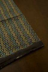 Black with Grey and Indigo Zig Zag  Ajrak Modal Silk Fabric