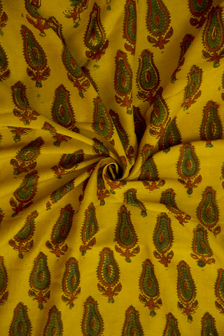 Yellow And Maroon Malai Cotton Fabric