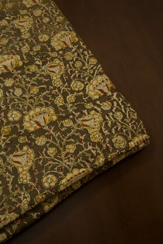 Beige Flower with Olive Green Printed Kalamkari Fabric -0.65m