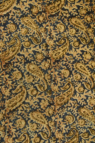 Olive Green Paisley with Indigo Printed Kalamkari Fabric