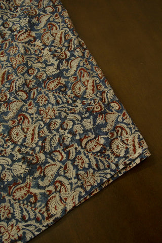 Indigo with Maroon Printed Kalamkari Fabric