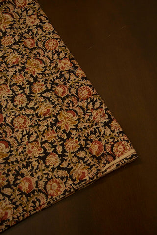 Black with Peach Floral Printed Kalamkari Fabric