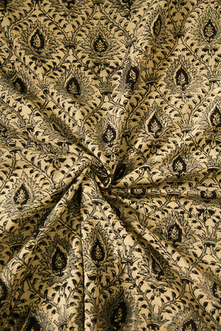 Off White with Black Diamond Printed Kalamkari Fabric