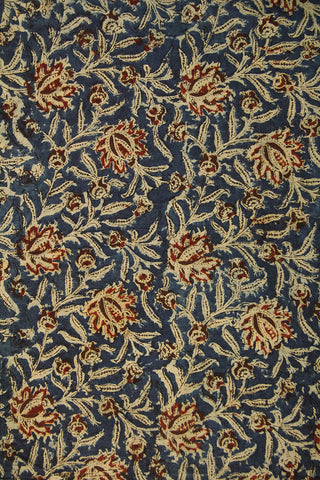 Blue with Maroon Block Printed Kalamkari Fabric