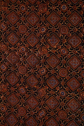 Black with Maroon Circles  Ajrak Cotton Fabric