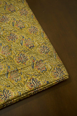 Mustard Yellow with Pink Lotus Printed Kalamkari Fabric