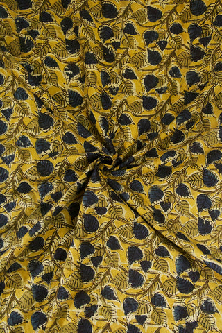Pale Yellow with Indigo Peepal Leaves Printed Kalamkari Fabric