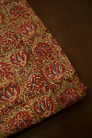Red with Peach Floral Printed Kalamkari Fabric