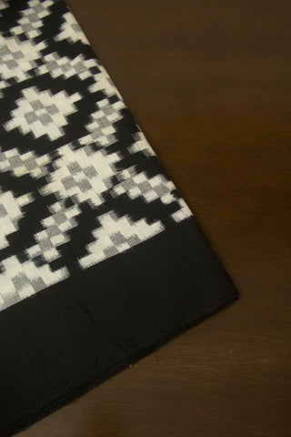 Black with White Telia Rumal Ikat Fabric