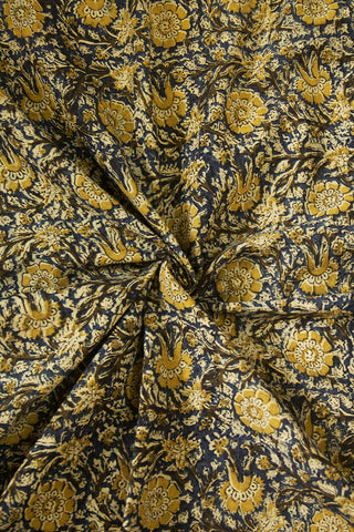 Olive Green with Indigo Floral Printed Kalamkari Fabric