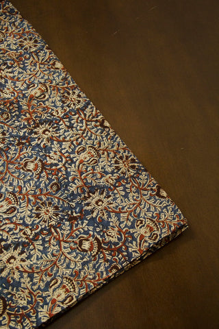 Rust Red with Indigo Printed Kalamkari Fabric