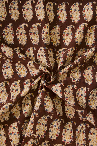 Dark Brown with Beige Paisley Printed Kalamkari Fabric