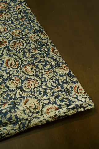 Indigo with Black Printed Kalamkari Fabric