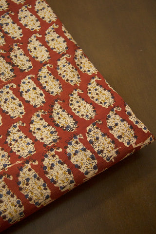 Rust Red Paisley Printed Kalamkari Fabric