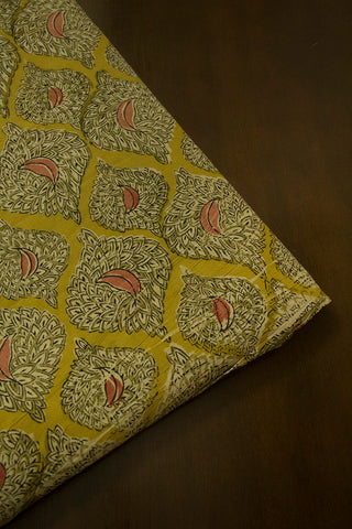 Fenugreek Yellow Diamond Printed Kalamkari Fabric-0.5 m