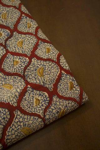 Indigo with Maroon Diamond Printed Kalamkari Fabric