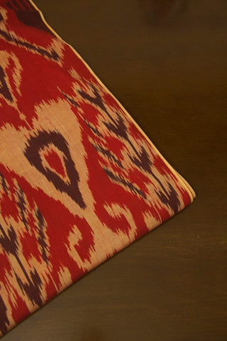 Rust Red with Beige Indonesian Ikat Cotton Fabric