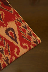 Rust Red with Beige Indonesian Ikat Cotton Fabric-2 m