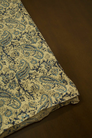 Off White with Indigo Paisley Printed Kalamkari Fabric