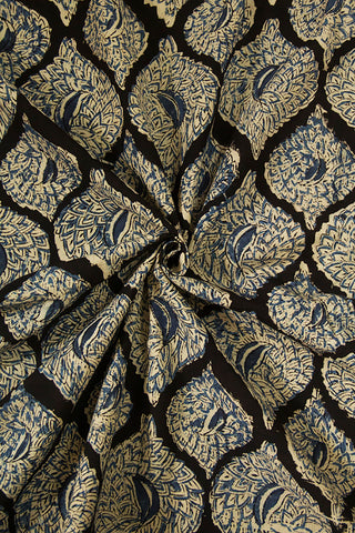 Black with Indigo Printed Kalamkari Fabric