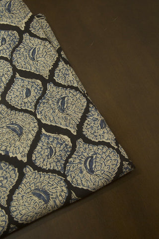 Black with Indigo Printed Kalamkari Fabric - 1.2m