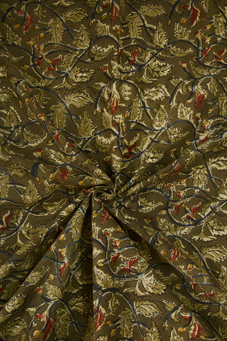 Olive Green Leaves Printed Kalamkari Fabric