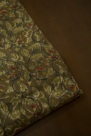 Olive Green Leaves Printed Kalamkari Fabric-0.6m