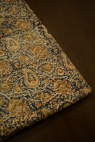 Indigo with Brown Paisley Printed Kalamkari Fabric