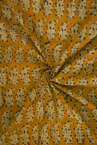 Fenugreek Yellow Printed Kalamkari Fabric-1.5 m